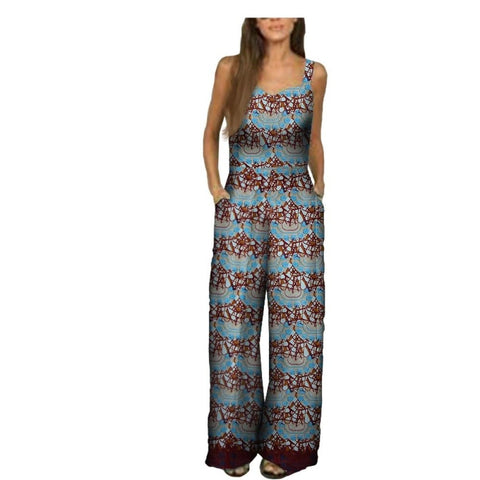 African Women Jumpsuit Sleeveless Spaghetti Strap Ankle-Length 100% X11509