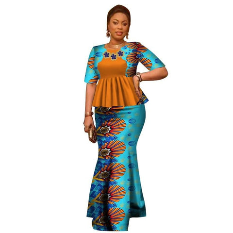 African Style Top and Long Skirt For Women Cotton Print Kitenge Ankara X10997