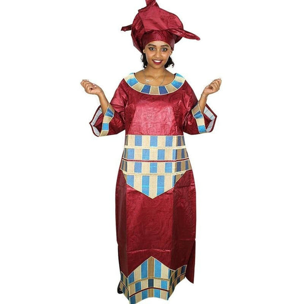 Embroidered African bazin brocade Caftan long dress with scarf X21220