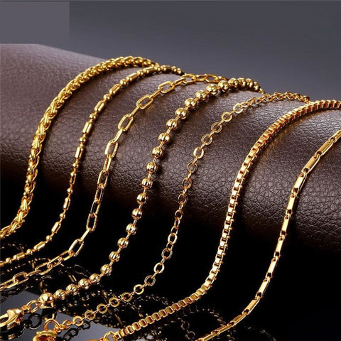 Diy Chains Necklace For Pendant Men/Women Jewelry Gold Color Q50118
