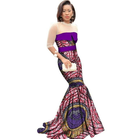 African Long Dress Women Cotton Print Kitenge Ankara Half Sleeve Mermaid X11394