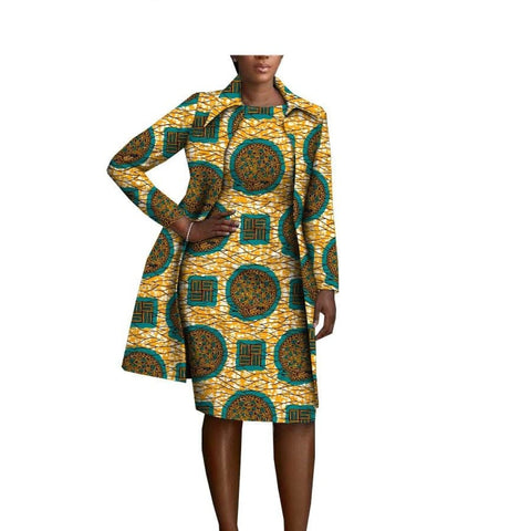 African Cotton Women Full-Sleeve Knee-Length Jacket X11096