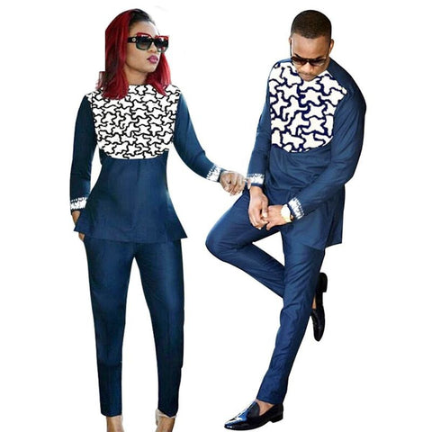 African Clothing For Couples Men and Women Bazin Riche Embroidery V21617