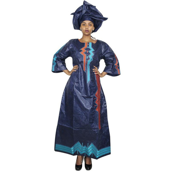 Embroidered African Long Kaftan Dress with Scarf  X21229