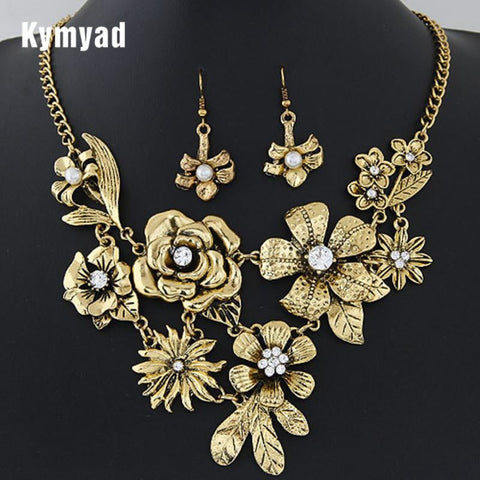 Kymyad Jewelry Set Party Dress Accessory Vintage Flower Necklaces Q50209