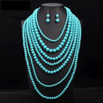 Nigerian Wedding Indian Jewelry Sets Multi Layer Pearl Jewelry Long Q50217