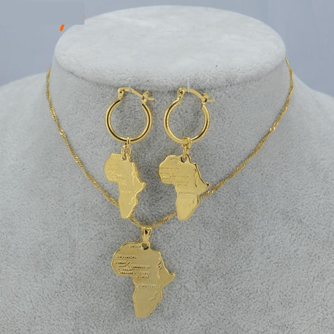 African Map Jewelry Sets Necklace Earrings For Women Girls Gold Color Q50115