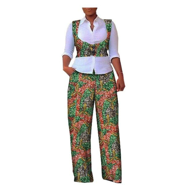 Colorful Dashiki Kitenge Batik Cotton Print Women Short Vest+Pants Set X10685