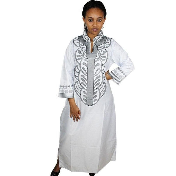 African Bazin Riche Embroidery Design Long Dress Soft X21155