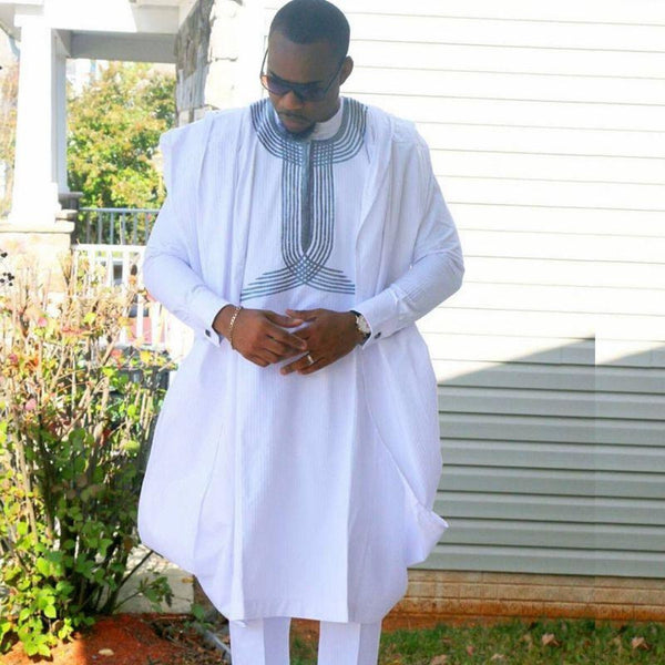 African men 3 pieces Dashiki Top Pants Robe Set for Y20774