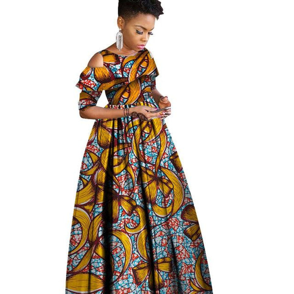 Ankara African Batik Half-sleeve Ruffles Collar Maxi Dress For X11469
