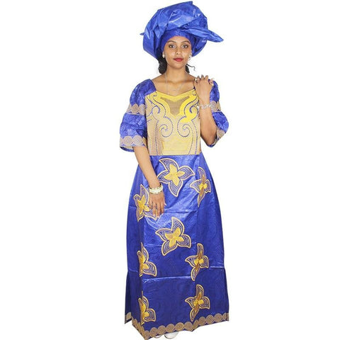 Embroidered Bazin Riche Long African long dress kaftan X21228