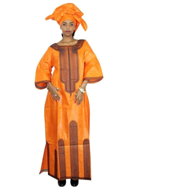African Clothing For Women Embroidery Long Dress Bazin Riche Design with X21268