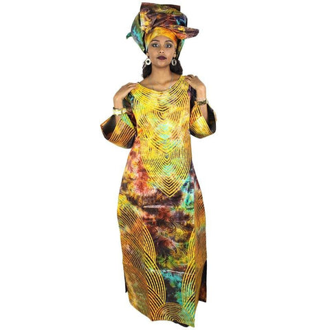 African Dashiki Style Embroidered Long Kaftan Dress with scarf X21231