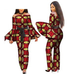 African Print Women Jumpsuit Slash-Neck Long Horn X11492