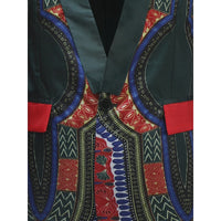 Kanga African Print Men Single Breasted 1-Button Dashiki Blazer Jacket Y10531