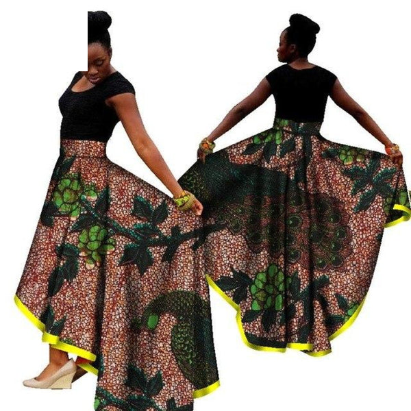 African Women Dashiki Print Maxi Long Skirt Ankara High Waist X11132