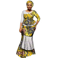 African Clothing Top and Long Skirt For Women Cotton Print Kitenge with X11001