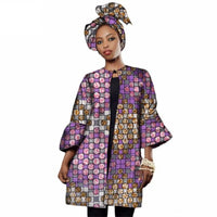 African women Dashiki Three Quarter Sleeve trench coat X10430
