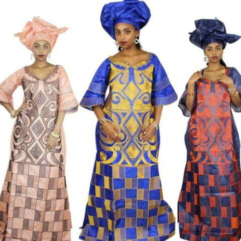 African Clothing Bazin Riche Design Embroidery Long Dress Dashiki Cotton X21241