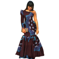 African Summer One-Shoulder Long-Sleeve Mermaid Prom Dress for X11342