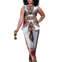 African Dashiki Print Summer Sleeveless top With Pants 2 X10672