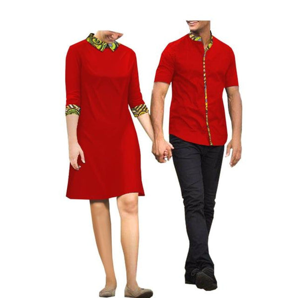 African Clothing Couple Lovers Cotton Wax Kitenge Ankara Woman Dress Man V11677
