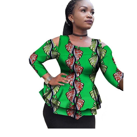 Africa Women Clothing Dashiki Ankara Bazin Fashion Elegant O-Neck Crop X10395