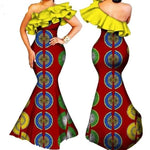 African Clothing For Women Dashiki Bazin Ruffles One-Shoulder Long X11440