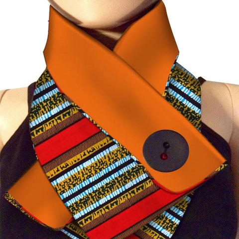 Elegant O Ring Neck Collar Scarf with Dashiki African Cotton Q11748