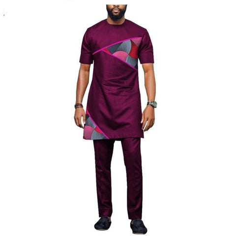 African Casual Clothing For Men Short Sleeve Long Top+Full Length Pants Y10799