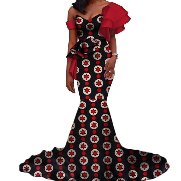 Vintage Vestidos Bazin Long Mermaid Dress Draped Patchwork African Print Dresses For Women African Ankara Clothing Wy3346