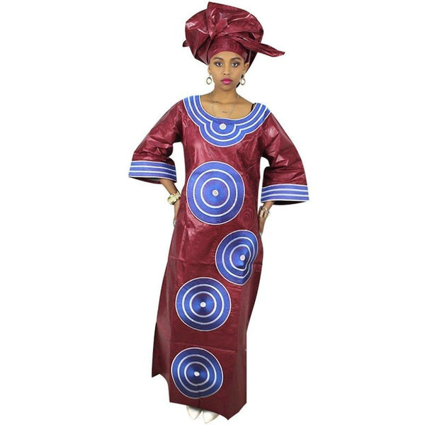 African Clothing Women Traditional Bazin Riche Embroidery Design Dress X21262