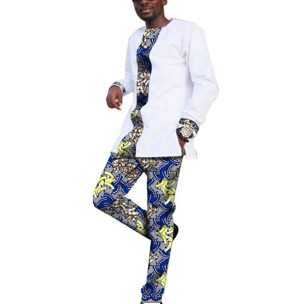 African Men 2-Piece Dashiki Print Set Patchwork Tops+Pants White Cotton Y10827