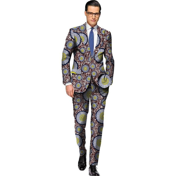 Customized Africa Style Clothing Dashiki Print Suit Jacket and Pants Y10826