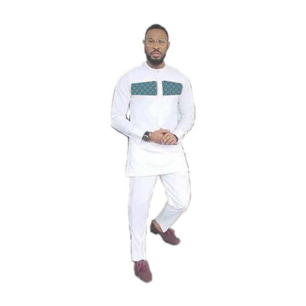African Clothes Men Long Sleeve White Cotton Print Patchwork Tops+Trousers Set - Afrinspiration
