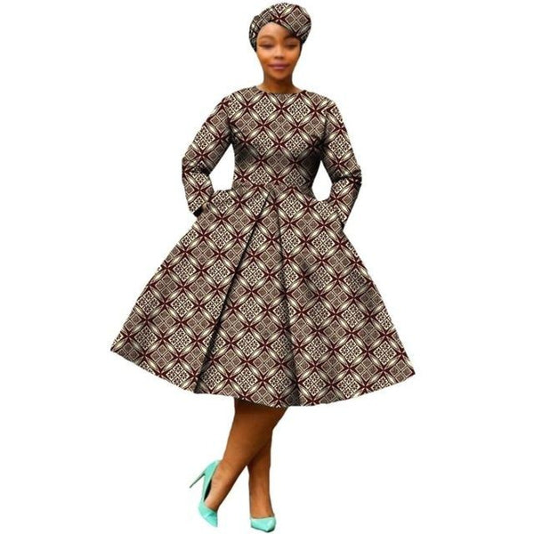 African Dress Women Full Sleeve Calf-Length Ball Grown Casual Dress with X11095