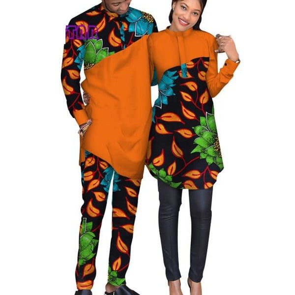 Couples African Print Patchwork Matching Top-Pants for Man and V11638