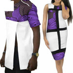 African Print Patchwork Style - Men shirt and Women Short V11657