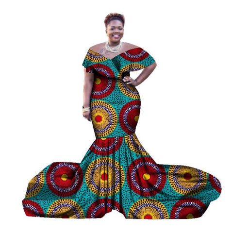 African Clothing Dashiki Style Long Dress For Women Cotton Print Kitenge X11409