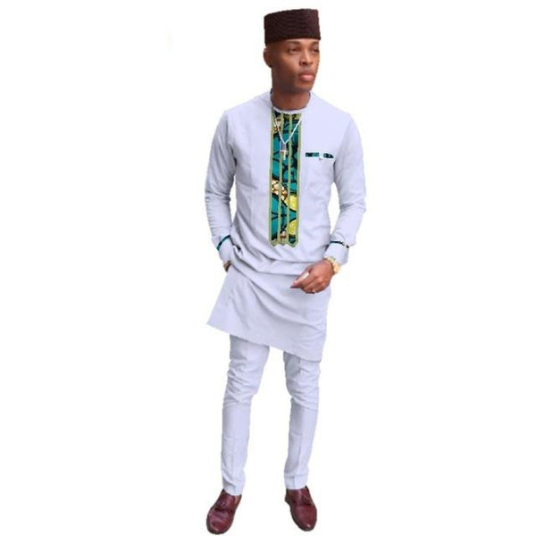 African Men Clothing Long Top and Pants Sets Dashiki Wax Print 2Pc Y10854