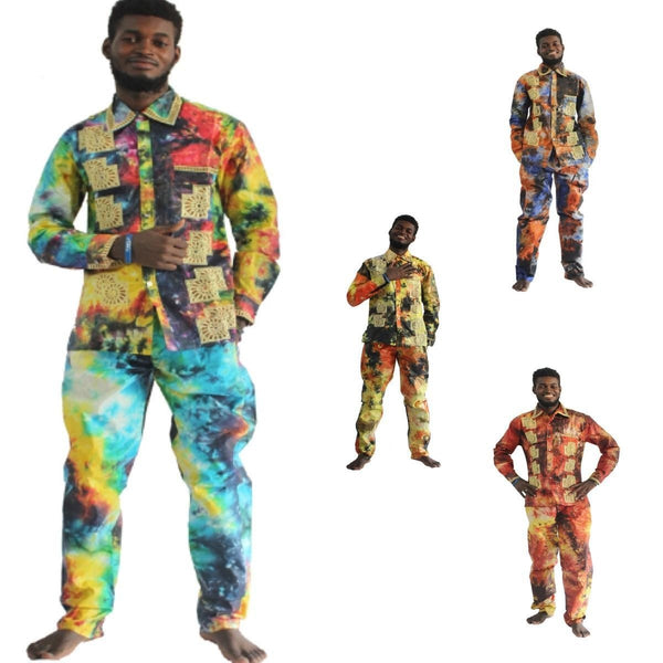 African Clothing For Men Embroidery Shirt-Pants Traditional Dashiki Kanga Y20760