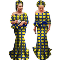 Floor-Length Dashiki Vestidos African Women Clothing Two Piece Top-Skirt X11006