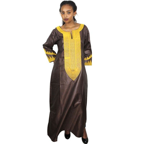 African Clothing Embroidered Soft Material Long Dress For X21162