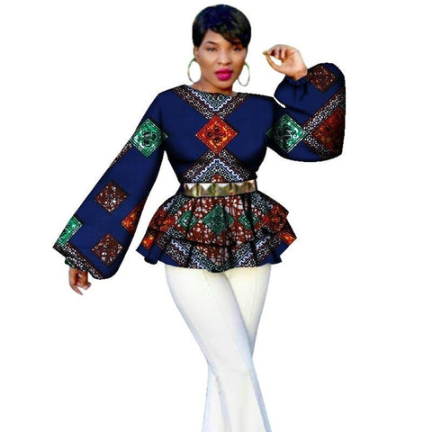 African Bazin Riche Tops Tees For Women Dashiki Print Puff Sleeve Tops X10398