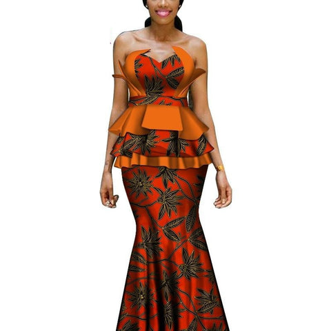 African Cotton Wax Print Off Shoulder Top with Long Floor- Length X10974