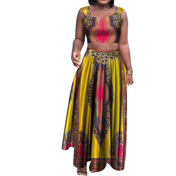 African Style 2pc Top and Long Skirt Dashiki for X10995