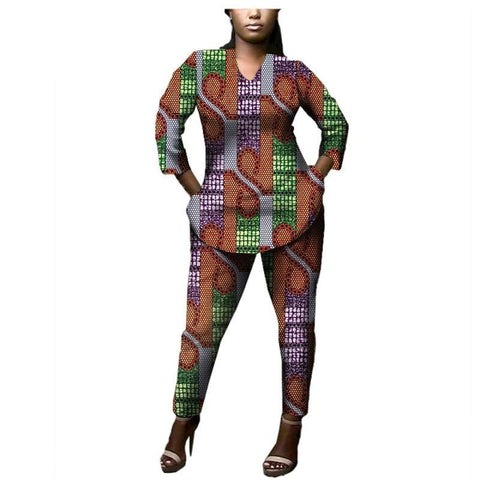 African Cotton Women Suit Casual 3/4Sleeve Suit Plus Ankle-Length Pants X10689