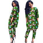 Women African Dashiki 2Pc 3/4 Sleeve Shirt and Pants Outwear With Pocket X10691