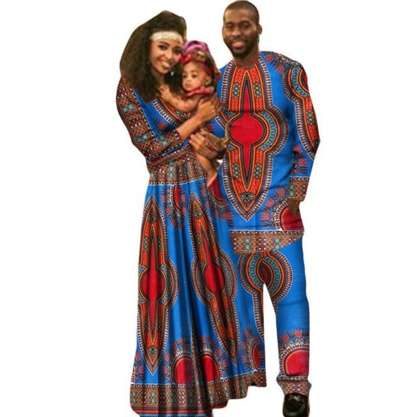 African Family Clothing Set for Man Woman and V11659
